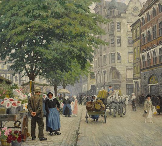 Paul Fischer (Danish, 1860-1935) The flower seller 19 x 21 1/2in (48.3 x 54.8cm)