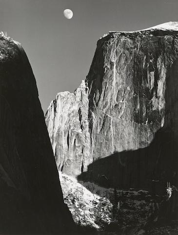 Ansel Adams (1902-1984); Moon and Half Dome, Yosemite National Park, California;