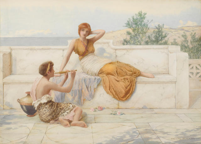 Henry Ryland (British, 1856-1924) A song without words 15 5/8 x 22in (39.8 x 56cm)