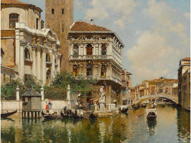 Federico del Campo (Peruvian, 1837-1927) On a Venetian canal 23 3/4 x 17in (60.5 x 43cm)