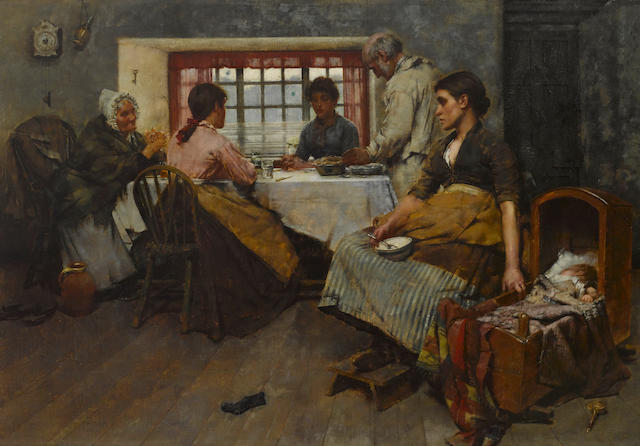 Albert Chevallier Tayler, RBC (British, 1862-1925) Bless, O God, these Thy gifts to our use  25 1/2 x 36 1/4in (65 x 92cm)