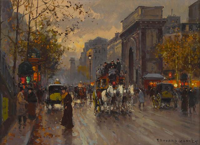 Edouard Henri Leon Cortès (French, 1882-1969) La Porte Saint Martin 13 x 18in (33 x 26cm)