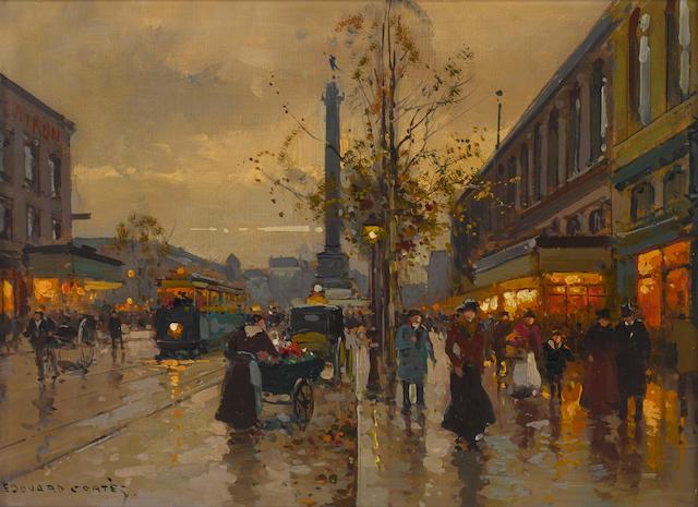 Edouard Henri Leon Cortès (French, 1882-1969) La rue de la Bastille 13 x 18in (33 x 46cm)