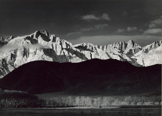Ansel Adams (1902-1984); Winter Sunrise, Sierra Nevada from Lone Pine, California;