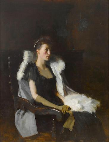 Frank Bramley, R.A. (British, 1857-1915) A portrait of Ethel Grace Bolitho, neé Maclead 60 1/4 x 46in (153 x 117cm)