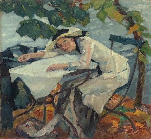 Leo Putz (1869-1940) Im Garten 24 x 25 3/4 in (61 x 65 cm) (Painted circa 1910)