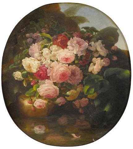 Adelheid Dietrich (German, 1827-1891) A still life with roses 25 1/2 x 23 1/8in (65 x 59cm)