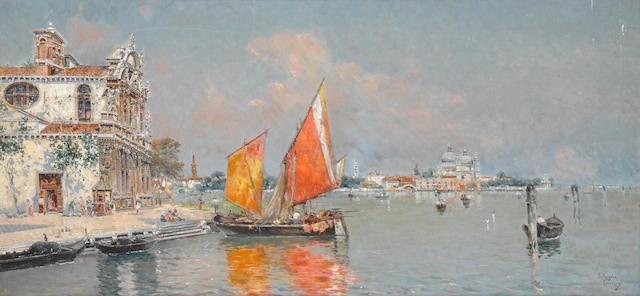 Antonio María de Reyna Manescau (Spanish, 1859-1937) La Giudecca, Venice 14 x 29in (35.5 x 73.8cm)