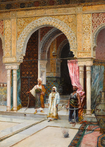 Rafael Blanco Merino (Spanish, born circa 1864-died after 1899) Moors in a courtyard; Odalisque in a Moorish courtyard (a pair) each 39 x 28in (99 x 71cm)