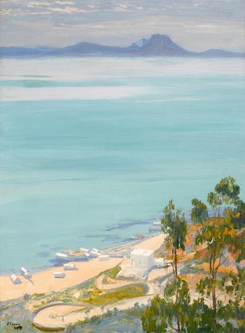Sir John Lavery RA RSA RHA (Irish, 1856-1941) The bay of Tunis. Morning 32 1/4 x 24in (82 x 61cm)