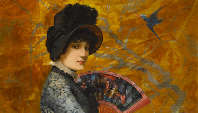 Jules Nel-Dumouchel (French, 19th/20th Century) An elegant lady in a Japanese interior 22 1/4 x 38 1/4in (56.6 x 97.2cm)