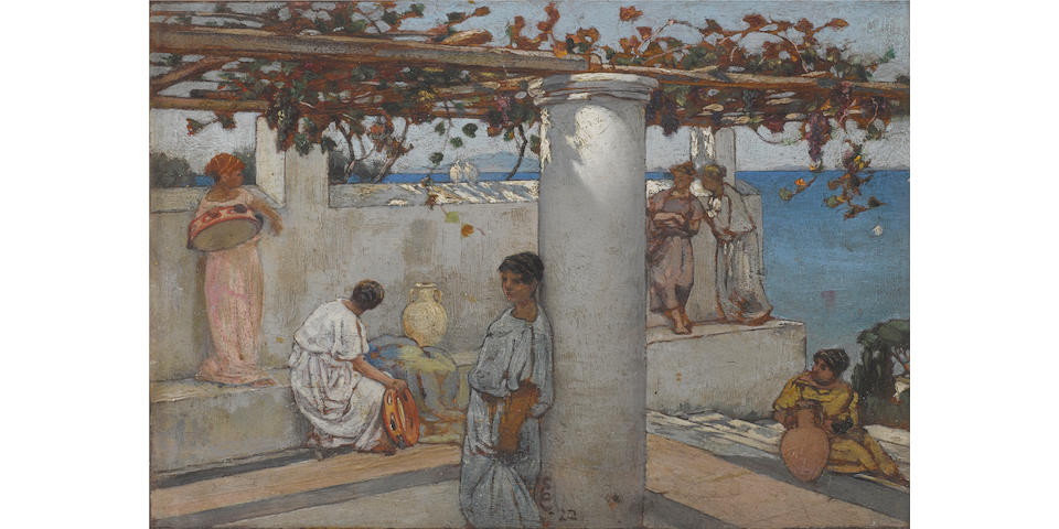 Charles Caryl Coleman (American, 1840-1928) Roman maidens on a terrace 6 1/2 x 9 1/4in  overall: 11 1/4 x 13 3/4in (Painted in 1922)