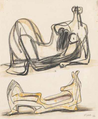 HENRY MOORE O.M., C.H. (1898-1986) Two Reclining Figures 11 1/2 x 9 1/2 in (29.2 x 24.1 cm) (Drawn in 1966)