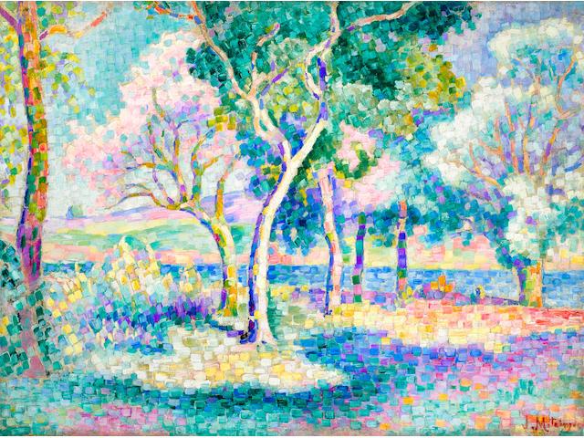 Jean Metzinger (1883-1956) Arbres près d'une rivière  21 1/4 x 28 3/4 in (54 x 73 cm) (Painted circa 1905)