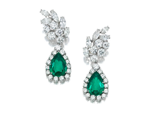 A pair of emerald and diamond ear pendants, Ruser