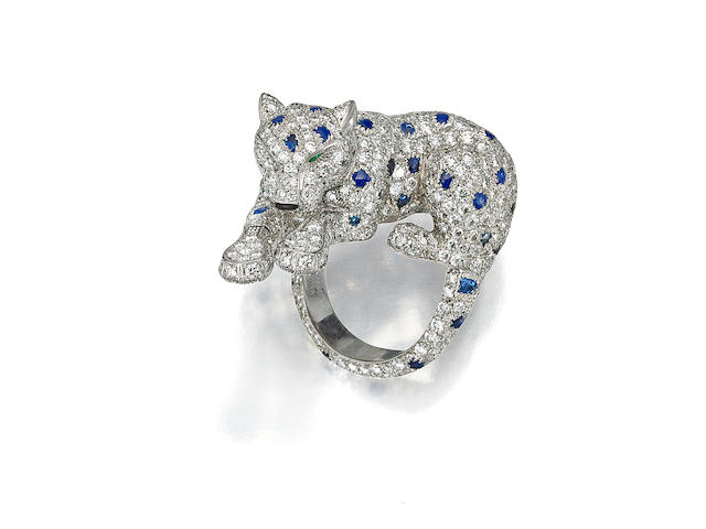 "A diamond, sapphire and emerald ""Panther"" ring, Cartier"