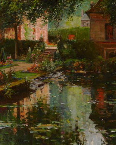 Louis Aston Knight (American, 1873-1948) A villa in Paris 32 x 25 1/2in (81.5 x 65cm)