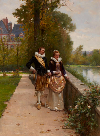 Adrien Moreau (French, 1843-1906) Elegant figures strolling in the park 24 1/2 x 18 1/2in (62.3 x 47cm)