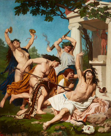 Emile Jean Baptiste Philippe Bin (French, 1825-1897) The Death of Orpheus 55 x 44 1/2in (140 x 113cm)