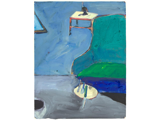 Richard Diebenkorn (1922-1993) Interior Green with Chair, 1964  15 3/8 x 11 15/16 in. (39.1 x 30.3 cm)