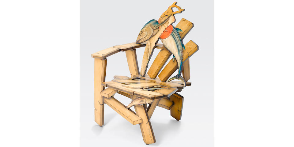 John Cederquist (born 1946) Saw Shimi side chair, 1997Baltic birch plywood, poplar, maple, oil-based lithograph, together with a copy of the invoiceheight 41in (104cm); width 29in (73.5cm); depth 29in (73.5cm)