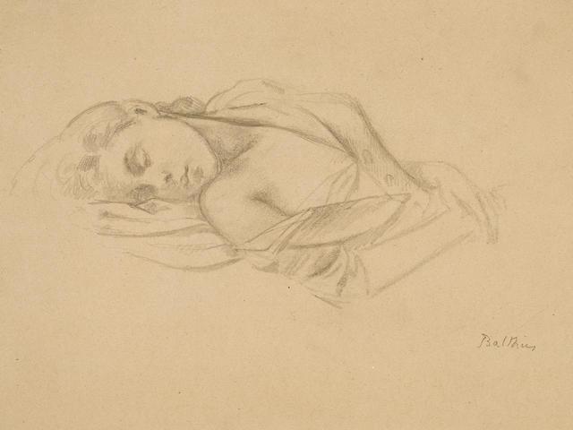 Balthus (Balthasar Klossowski de Rola) (1908-2001) Étude pour Jeune fille endormie (Portrait de Jeannette) 12 x 16 3/8 in (30.7 x 41.7 cm) (Drawn in 1943)