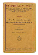 EINSTEIN, ALBERT. 1879-1955. Über die spezielle und die allgemeine Relativitätstheorie (Gemeinverständlich). Braunschweig: Freidr. Vieweg & Sohn, 1918.