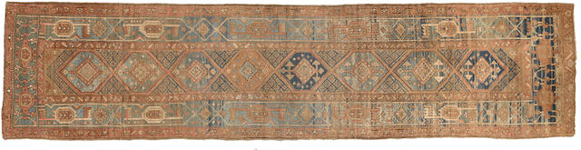 A Heriz runner Northwest Persia size approximately 3ft. x 12ft. 10in.