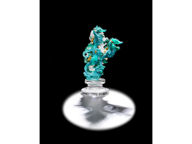 Gem Silica Chrysocolla and Malachite Carving of Sea Horses by Gerd Dreher