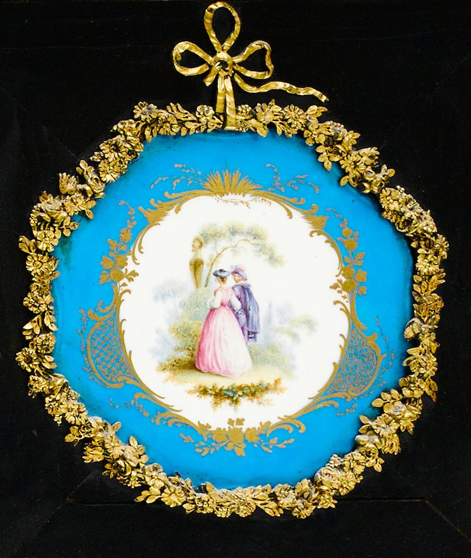 A French gilt bronze and porcelain mounted ebonized secrétaire à abbatant second half 19th century