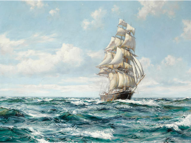 Montague Dawson (British, 1890-1973) Far Away - The Black Adder 24 x 36 in.(60.9 x 91.4 cm.)