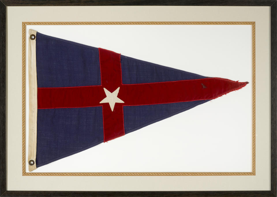 A framed American Yacht ensign 36-1/2 X 38-1/2 in., the ensign framed; 23-1/2 X 33 in., the burgee framed. 2