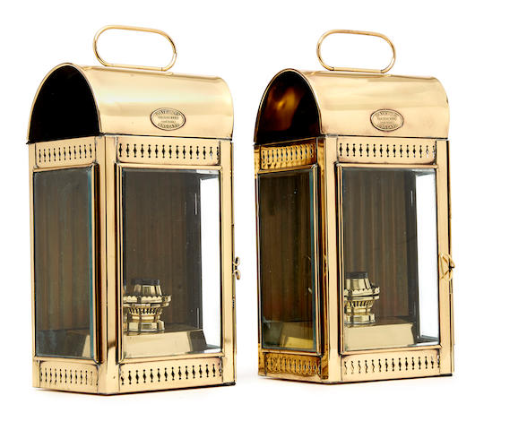 A pair of cabin lanterns early 20th century 14 X 8-1/2 X 5-1/4 in., each.