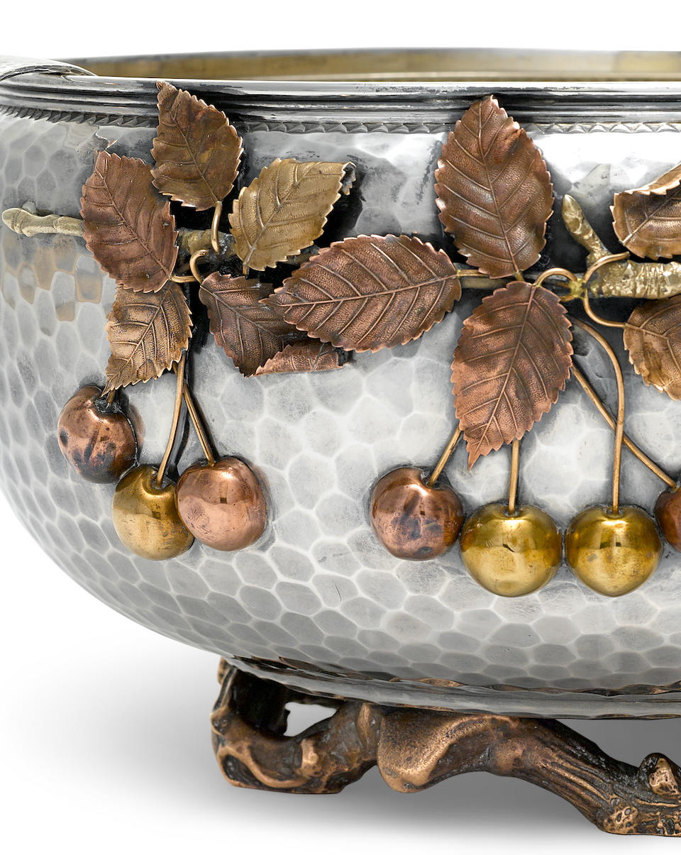 An American  sterling silver and mixed-metal  Japanese style punch bowl and ladle by Gorham Mfg. Co., Providence, RI, 1881