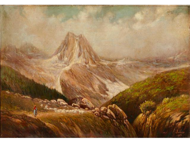 Ustad Allah Bux (Pakistan 1895-1978) Landscape with Shepherd Landscape with Shepherd and Flock