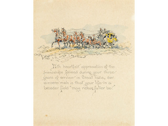 RUSSELL, CHARLES MARION. 1864-1926. Original watercolor, A Stagecoach, pen and ink, and pencil illustration on paper,