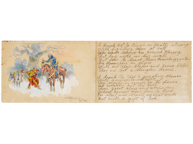 RUSSELL, CHARLES MARION. 1864-1926. Original watercolor, The King and the Clown, pen and ink, and pencil illustration on paper, 100 x 154 mm on 100 x 310 mm card,