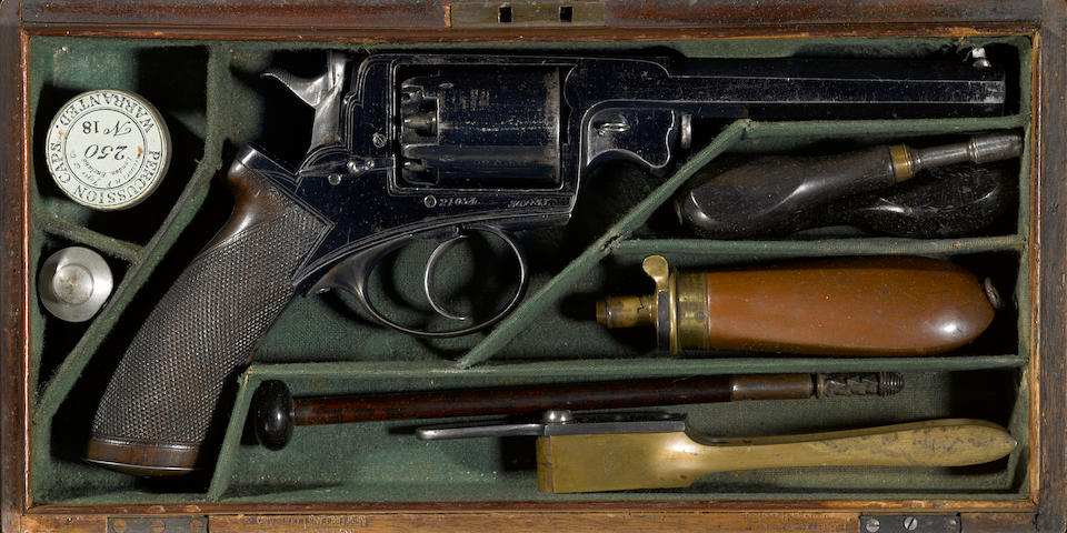 A fine and historic cased Beaumont Adams percussion revolver owned by Confederate General Willliam Thompson Martin