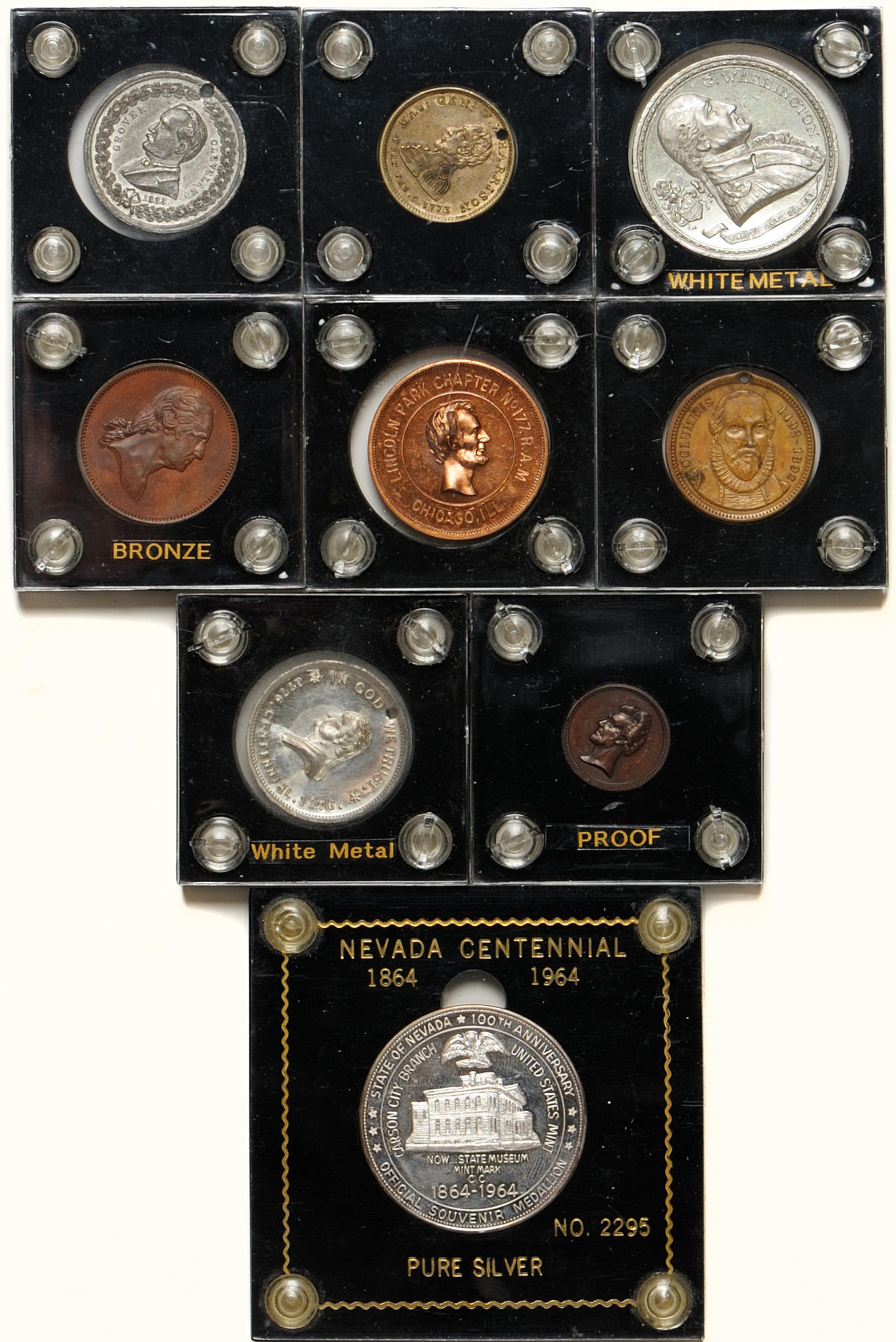 1964 Nevada State Centennial Medal White Metal # Medals Exonumia