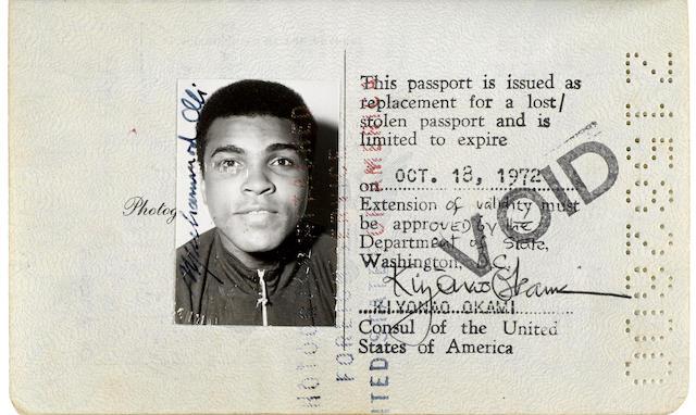 "ALI, MUHAMMAD. B.1942. U.S. Passport Signed (""Muhammad Ali"") Twice, [Dublin, July 19, 1972]."