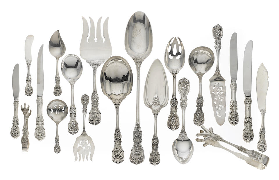 An extensive American  sterling silver  flatware service for twelve in original canteen by Reed & Barton, Taunton, MA,  20th century