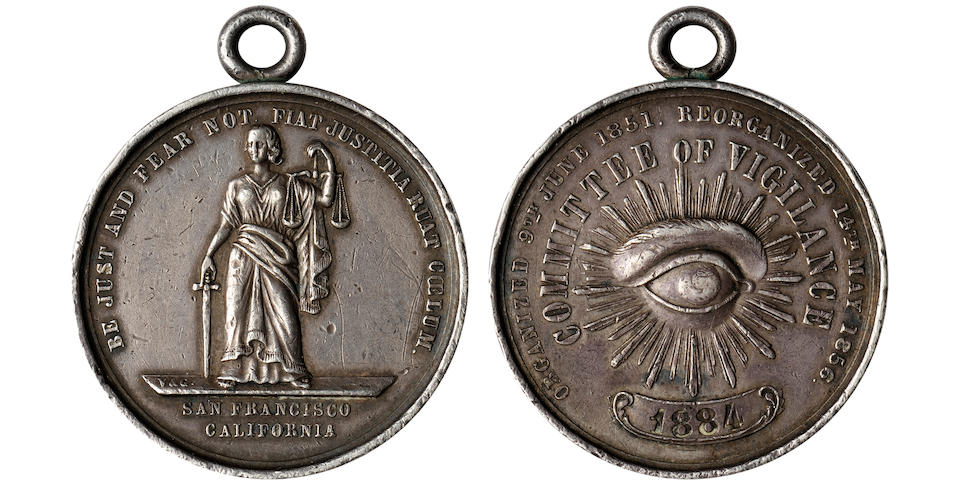 1856 San Francisco Vigilance Committee Medal, Membership Number 1884