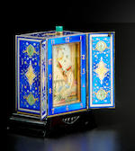 A finely enameled silver and hardstone minute repeating shuttered boudoir clock Swiss, first quarter 20th century