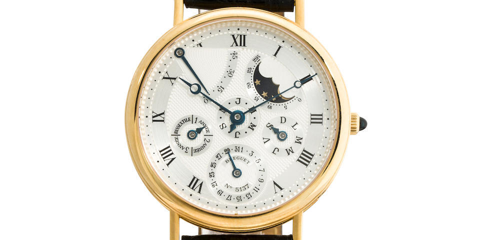 Breguet. An 18K gold automatic wristwatch with perpetual calendar, moon phase and power reserveRef:3310, Case no. 5137, Movement no. 2238, 1990's