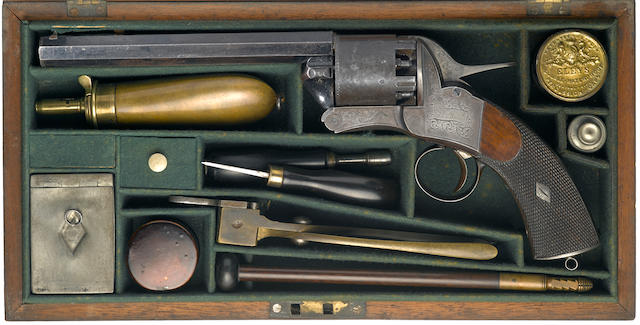 A fine and rare cased James Webley 2nd Model 'Longspur' five shot single action percussion revolver