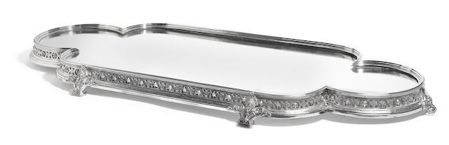 A Victorian  silverplate  cartouche-form footed surtout-de-table no maker's mark evident,  circa 1870