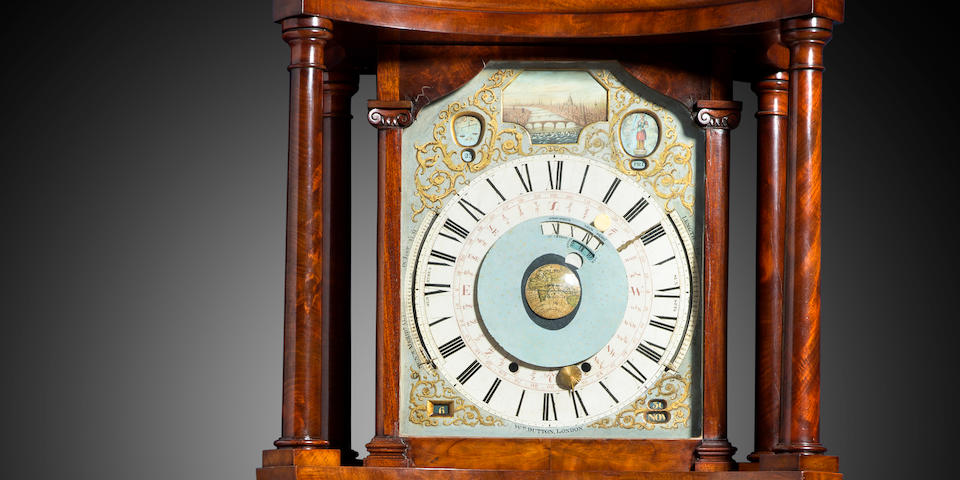 The remarkable Astronomical / Tidal clock of James Ferguson showing High Water at London Bridge The dial and its wheelwork attributed to Ferguson, the motion work and clock movement supplied by William Dutton, circa 1775, the mahogany display case probably late 18th / early 19th century