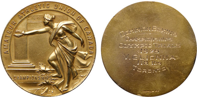 """1926 Olympic Trials Boxing Gold Medal 27.6 grams, 44mm. Struck in 10 karat gold by the Dingwall Company, the obverse features a gowned female figure resembling a Greek goddess ascending and holding a wreath in her right hand. AMATEUR ATHLETIC UNION OF CANADA is above, CHAMPIONSHIPS is below and left of her right foot; reverse: plain surface with DINGWALL 10K at the bottom. It is engraved: DOMINION BOXING / CHAMPIONSHIPS / OLYMPIC TRIALS / 1926 / V.GLIONNA / 118 LBS / TORONTO. It is well preserved and shows a matte finish overall with deep honey-golden color. A rare opportunity for the collector of Olympic memorabilia.Vincent """"Vince"""" Franklin Glionna (February 4, 1906 – October 31, 1973) was a Canadian boxer who competed in the 1928 Summer Olympics. He was born in Toronto. He was eliminated in the quarter-finals of the bantamweight class after losing his fight to the eventual bronze medalist Harry Isaacs of South Africa."""