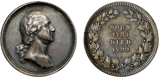 (Undated) Washington Born / Died Silver Medal by Anthony Paquet