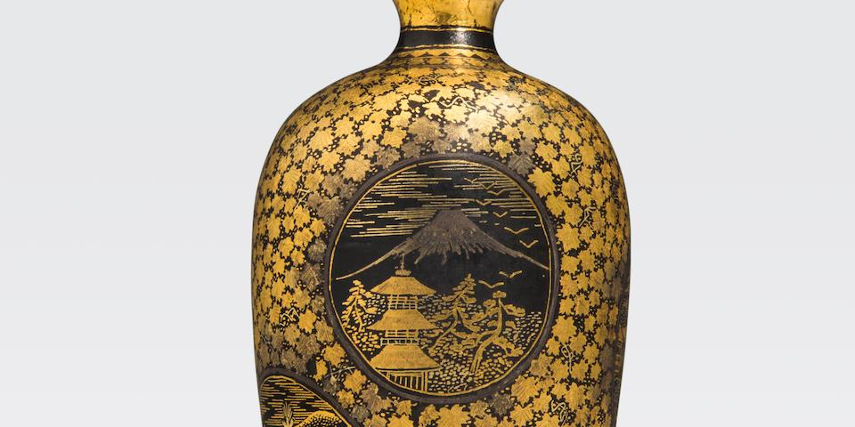 A miniature inlaid iron vase Komai style, Kyoto, Meiji era
